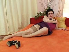 Naughty Grandma Wears Stockings, Fingers Herself And Moans Like Crazy At The End