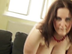 Chesty Mommy In Stockings Rubbing Mature Cunt