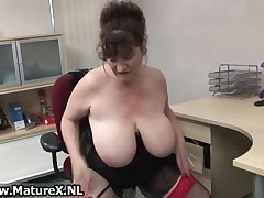 Horny Fat Mature Lady Fucks Her Own Pussy In The Office With A Dildo By MatureX