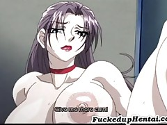 Busty Hentai Babe Takes Two Cocks
