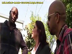 Cougar Kneels Between Two BBC And Sucks