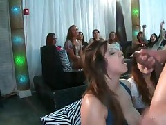Horny Party Chicks Taking Strippers Cock In Mouth