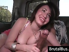 Chesty Brunette Bitch Sucking A Giant Prick