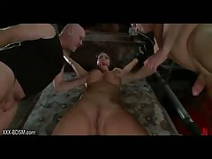 With Weight On The Nipples Bondage Busty Horny Girl Gets Electric Shocks On Her Big Boobs And Pussy
