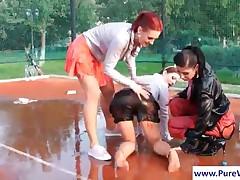 Gorgeous Lesbian Showing Wet Nylons Upskirt