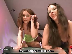 Two Nasty Brunette Girls Getting Fucked And Eating Cum In This Bukkake Video By GermanSpermGirls