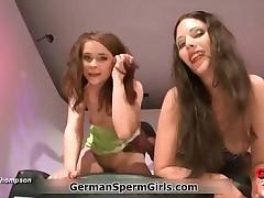 Two Nasty Brunette Girls Getting Fucked And Eating Cum In This Bukkake Video By GermanSpermGirls
