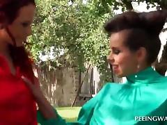 Tempting Lesbians Licking Bald Twat Outdoor