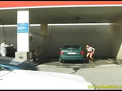 Blonde Whore Changes Her Clothes And Pees Next To A Car In A Public Car Washing!