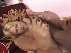 Riley Evans - Hot Blonde Gives Footjob