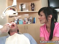 Naughty Sexy Brunette Doctors Are Jerking Off Lucky Patient With Big Cock By SubmissiveCFNM