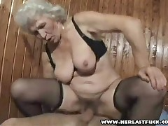 Young Man Checks Out Big Granny Boobs