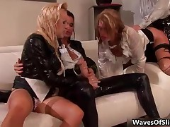 Big Tits Babe Blows A Bukkake Cum Load Over Her Two Hot Girlfriends By WavesOfSlime