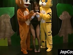 Asian Waitress Gets Cameltoe Teased By Two Costumed Dudes