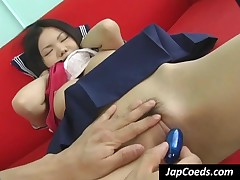 Sweet Japanese Coed Gets Pussy Vibrated Upskirt