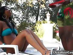 Horny Black Couple By The Pool Warming Up For The Sex By ClubWestCoast
