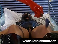 Naughty Lesbian Slave In Latex Gets Pussy Rubbed