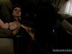 Tied Up Lesbian In Latex Gets Pussy Toyed