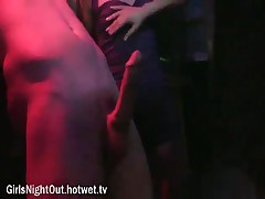 A Cock Crazed Brunette With Big Tits Grabs A Stripper And Gives Him A Wild Handjob And Blowjob