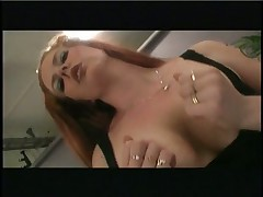 big titted redhead goes for ride on the tool train