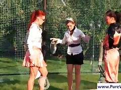 Wet Lesbians Spanking Their Asses At Tennis