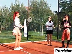 Three Hot Lesbians Playing Tennis In Wam Scene