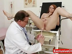 Samantha - Ginger Girl With Bigget Natural Tits Goes To Gyno Clinic Where Will Be Checked By Dirty O