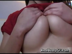 Lovely And Busty Girlfriend Gropes Herself On My Bed 1 By RealBustyGF