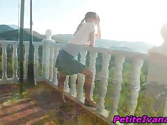 Superb Teenage Nymphet Fingering Her Slick Cooter In Balcony