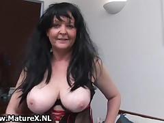 Brunette Granny With Big Tits Loves To Masturbate In Sexy Lingerie By MatureX