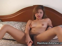 Peachy Ass Asian Amateur Forces Huge Dildo On Her Hairy Twat 3 By RealAsianAmateur