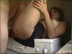 Hot chick fucks on transmitted to washing machine