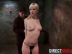Blonde Sexy Babe With Huge Natural Big Tits Gets Hogtied As An Extreme Beginner