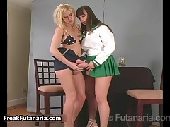 Horny Blonde Babe Loves Sucking Of Her Girlfriend Her Huge Cock By FreakFutanaria