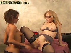 Hot Blonde Milf Having Fun With Black Chick