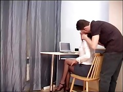 Pretty Secretary Fucking In Ripped Up Sheer Crotchless Pantyhose