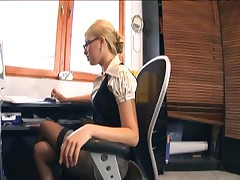 Donna Bell - Blonde Secretary With Glasses Fucking In Lingerie At The Office