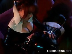 Lesbian In Latex Suit Gets Ass Slapped
