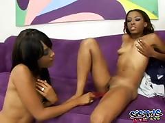Tina And Kapri - Hot Ebony Lesbians Tina And Kapri On Dildo Fucking Action