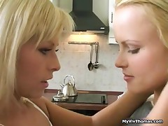 Hot Cute Lesbian Blonde Babes Kissing And Getting Horny Rubbing Tits By MyVivThomas