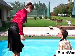 Topless Slave Undress Clothes For Lesbian Mistress