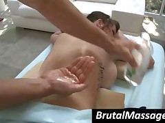 Tattooed Busty Brunette Hottie Gets Massaged Hard