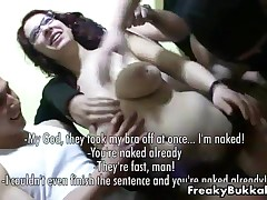 Naive Teen Girl With Glasses Gets Into A Bukkake Gangbang With 20 Men By FreakyBukkake