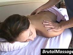 Orgiastic Brunette Nymphet Gets Massaged Well