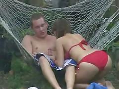 Hot teen couple fucking outdoor