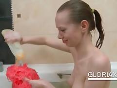 Awsome Slim Teen Washing Bald Twat In Bathtub