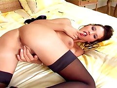 Sexy Brunette Teasing And Masturbating In A Bra Panties And Stockings