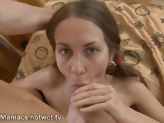 June - This Beautiful College Brunette Will Rock Your World As She Sucks Cock