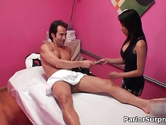 Hot Asian Naked Slut Getting Horny Jerking And Sucking An Hard Cock At The Massage Place By ParlorSu