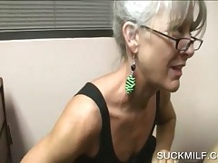 Ash Blonde Mom Swallowing A Horny Shaft